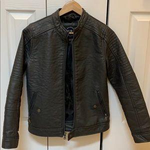 Boys grey leather jacket